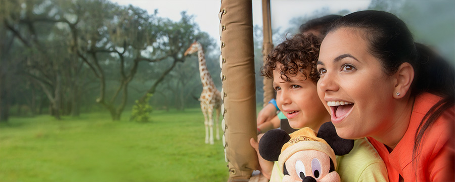 family in kilimanjaro safari disney animal kingdom